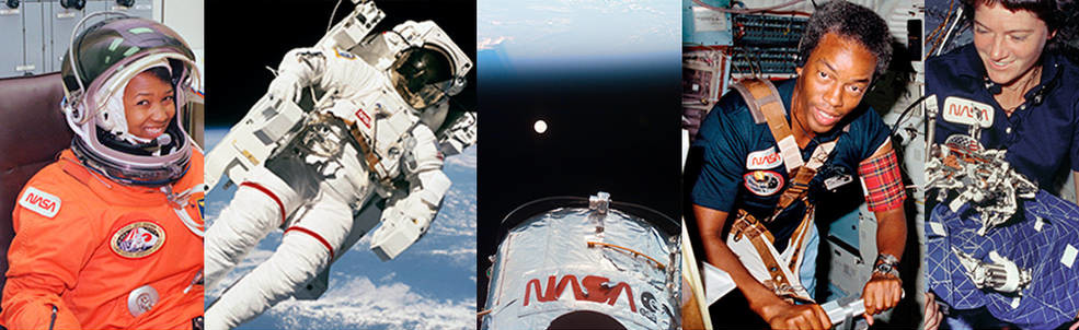A montage of the 1976 logo in use during the 1980's: On Mae Jemison's (the first Black woman in space) pressure suit, on an EVA suit, the Hubble Telescope, on a shirt worn by Guy Bluford (one of the first Black men in space) and Sally Ride (the first queer person in space.)